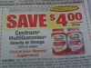 15 Coupons $4/1 Centrum MultiGummies Beauty or Omega 90ct 5/15/2017