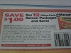 15 Coupons $1/12 Pillow Pack Maruchan Ramen Packages 8/31/2017