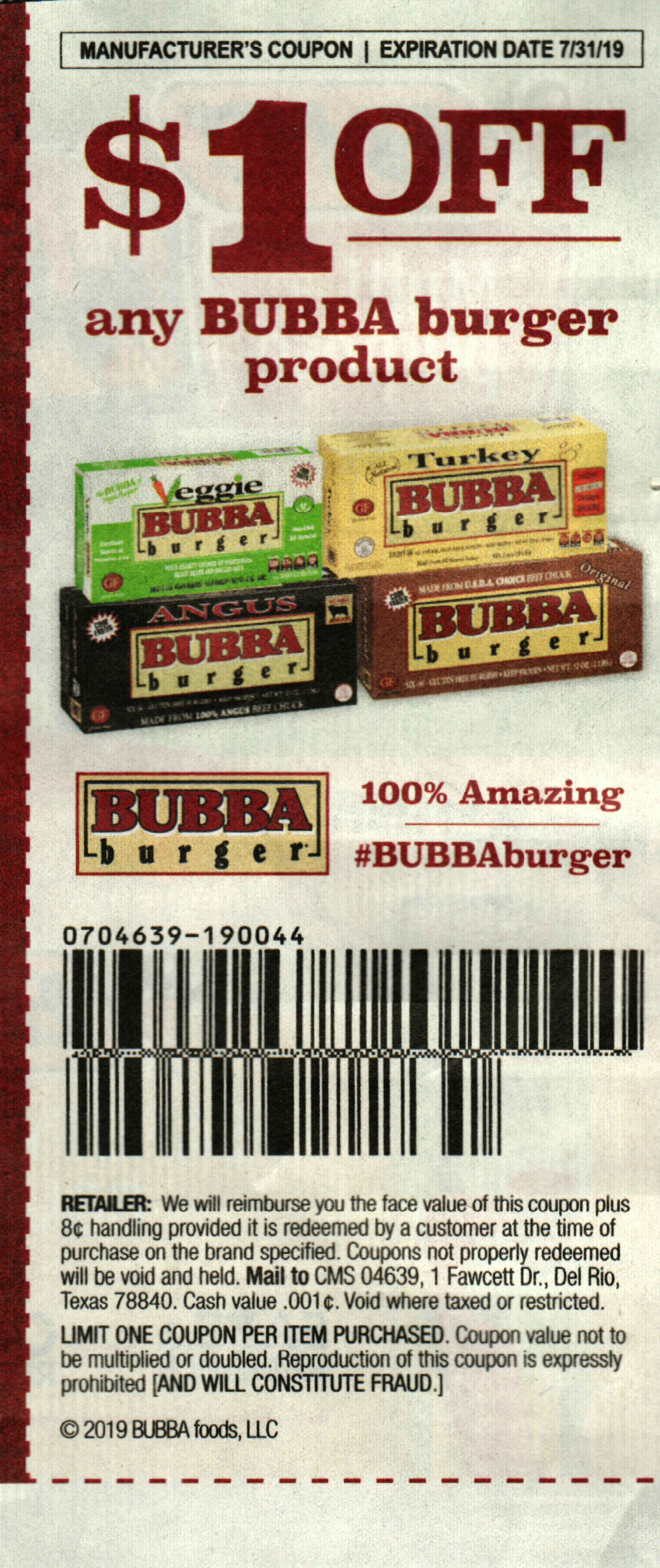 15 Coupons $1/1 Bubba Burger 7/31/2019