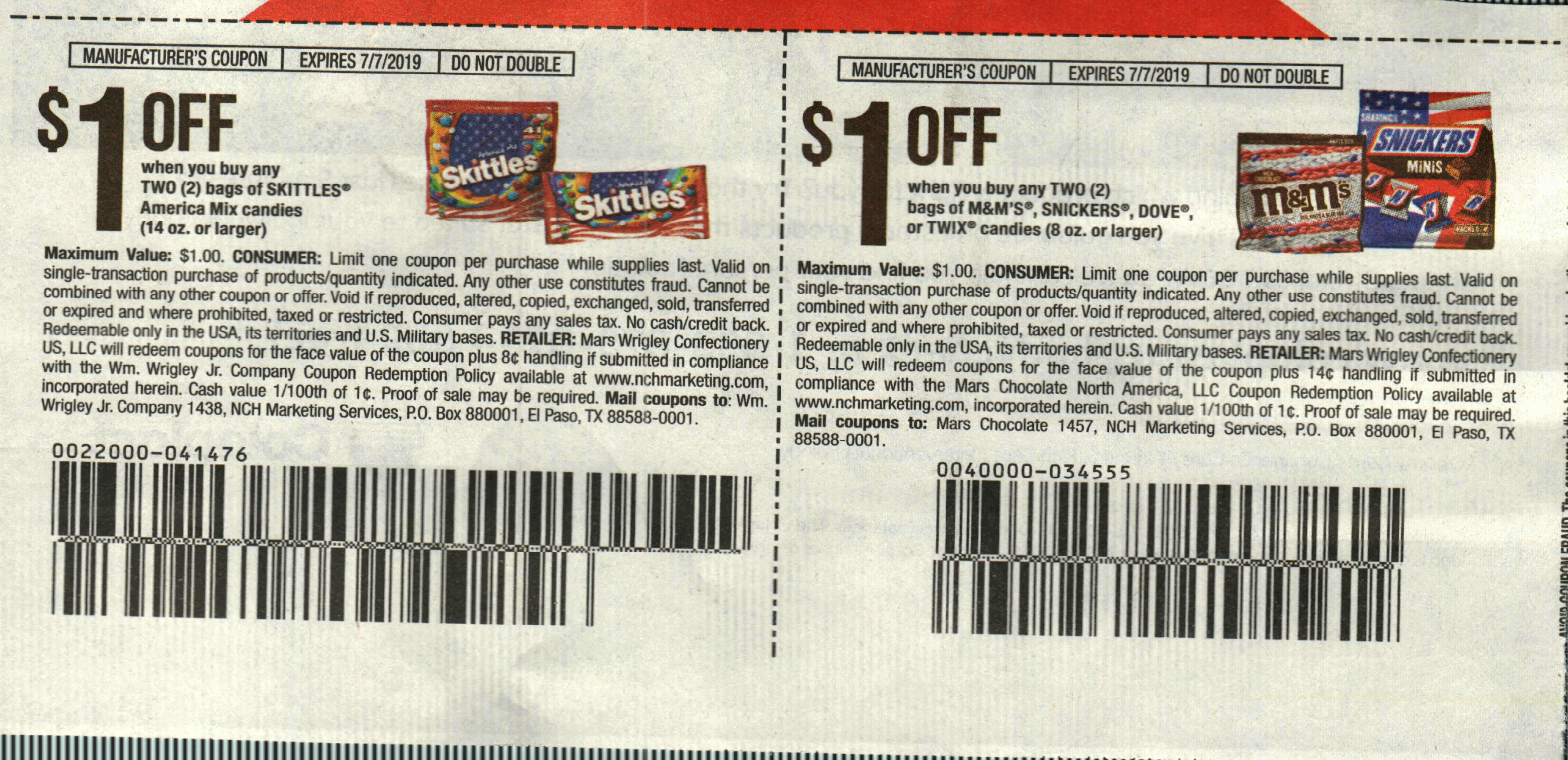 15 Coupons $1/2 Skittles America Mix + $1/2 M&M's Snickers Dove or Twix 8oz Candies DND 7/7/2019