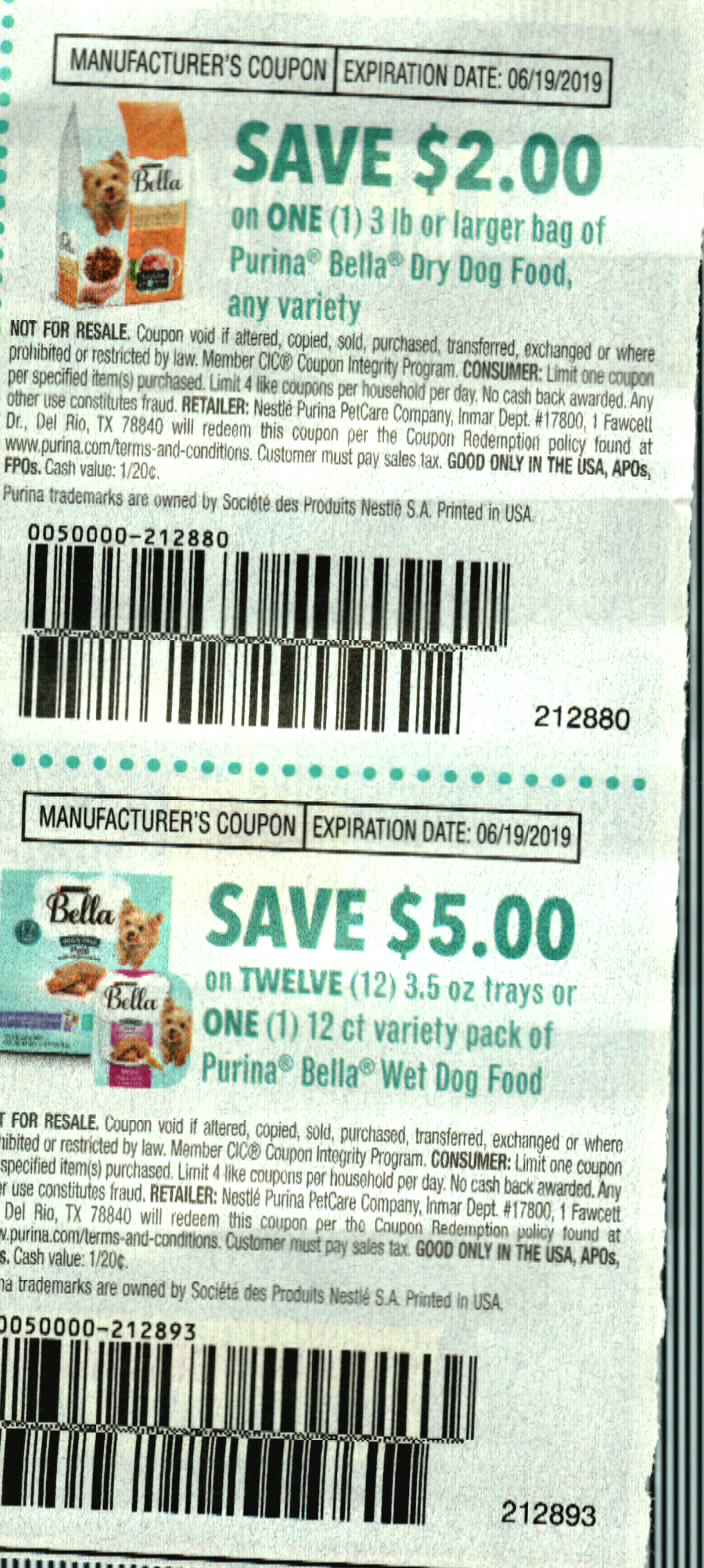 15 Coupons $2/1 Purina Bella Dry Dog Food 3lbs + $5/12 Bella Wet Dog Food Trays 3.5oz 6/19/2019