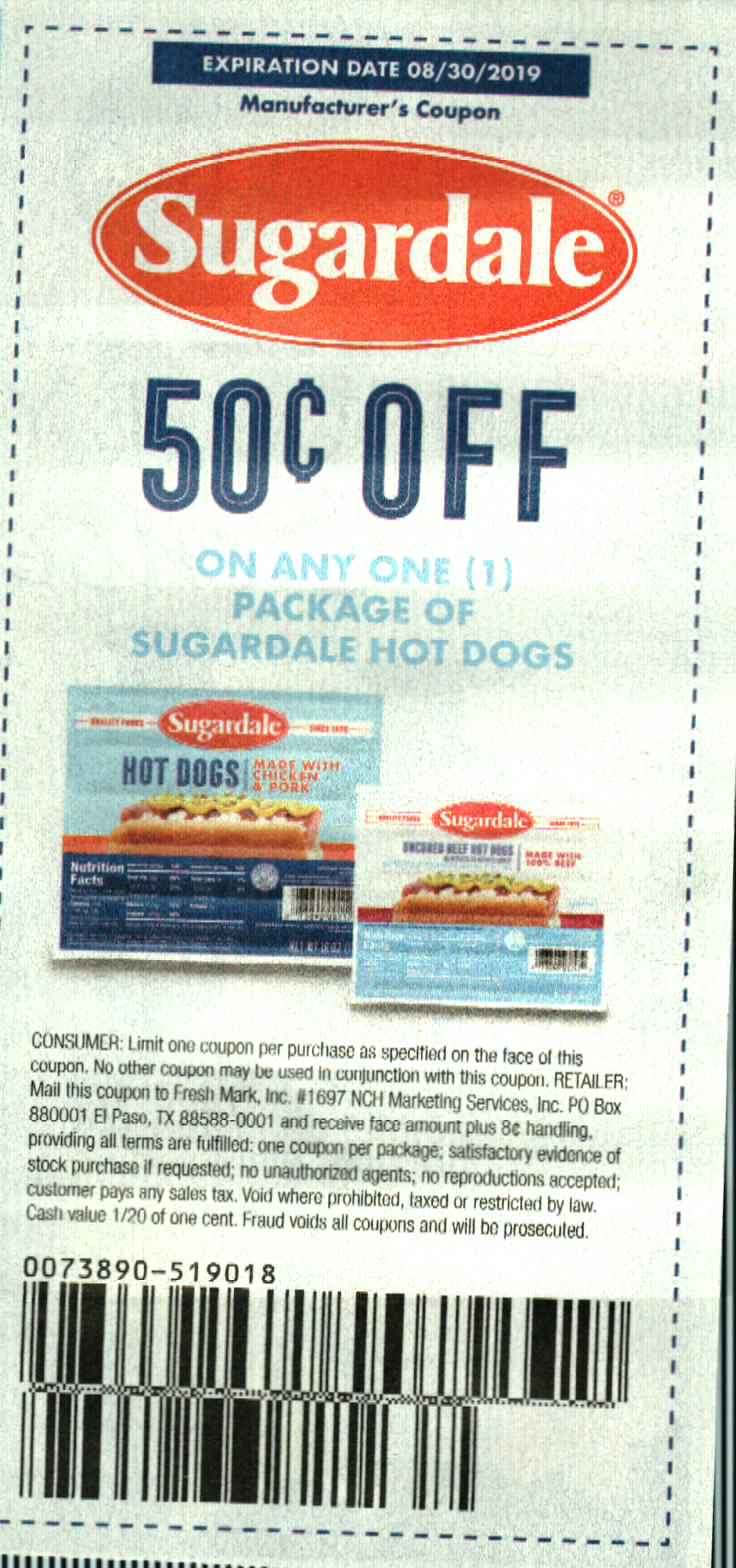 15 Coupons $.50/1 Sugardale Hot Dogs 8/30/2019