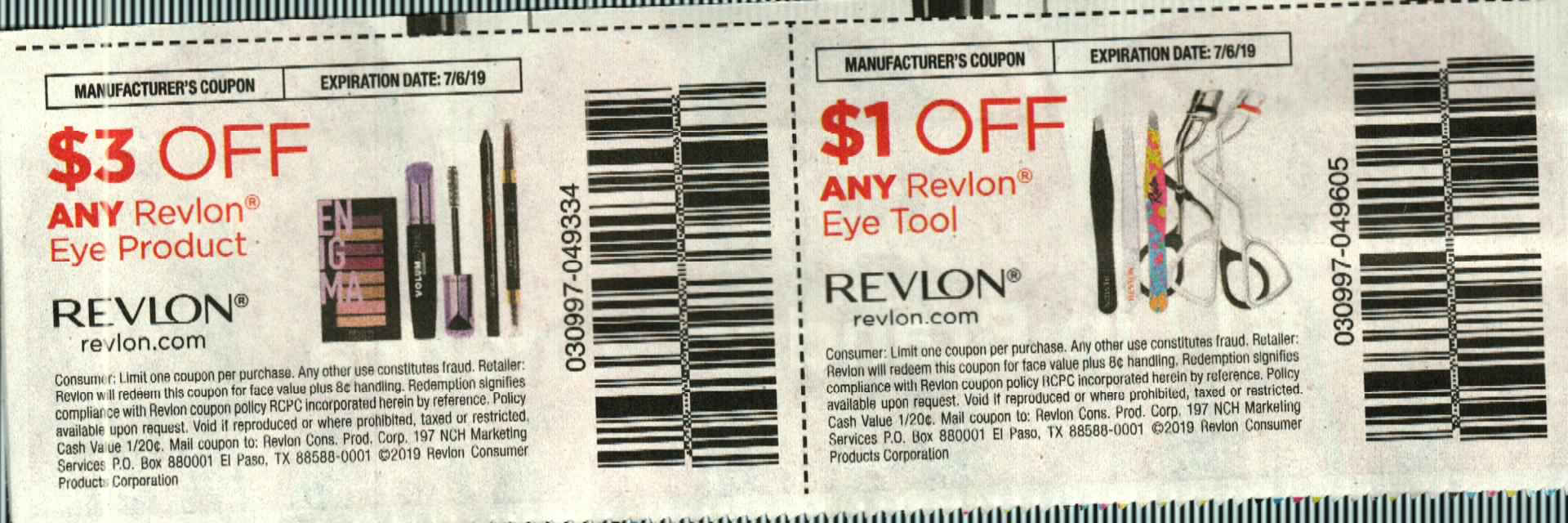 15 Coupons $3/1 Revlon Eye Product  + $1/1 Revlon Eye Tool 7/6/2019