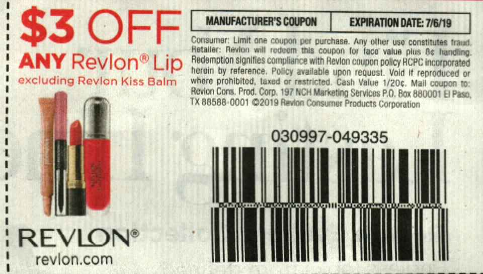 15 Coupons $3/1 Revlon Lip $7/6/2019