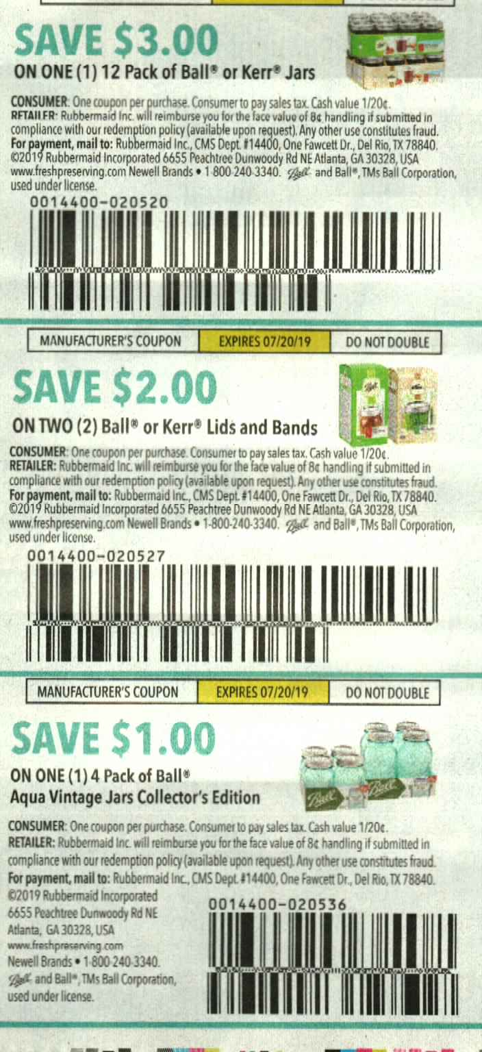 15 Coupons $3/1 12pk Ball or Kerr Jars + $2/2 Lids and Bands + $1/1 4pk Aqua Vintage Jars Collector's Edition DND 7/20/2019