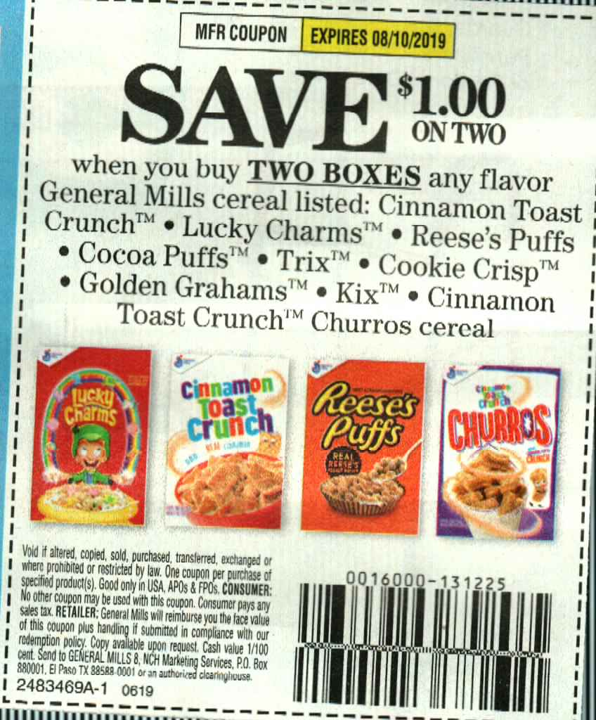 15 Coupons $1/2 General Mills Cereal Cinnamon Toast Crunch