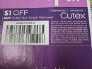 15 Coupons $1/1 Cutex Nail Polish Remover 5/4/2019