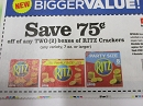 15 Coupons $.75/2 Ritz Crackers 5/18/2019