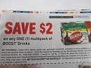 15 Coupons $2/1 Boost Multipack Drinks 6/23/2019