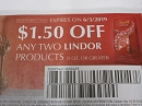 15 Coupons $1.50/2 Lindor Products 6/3/2019