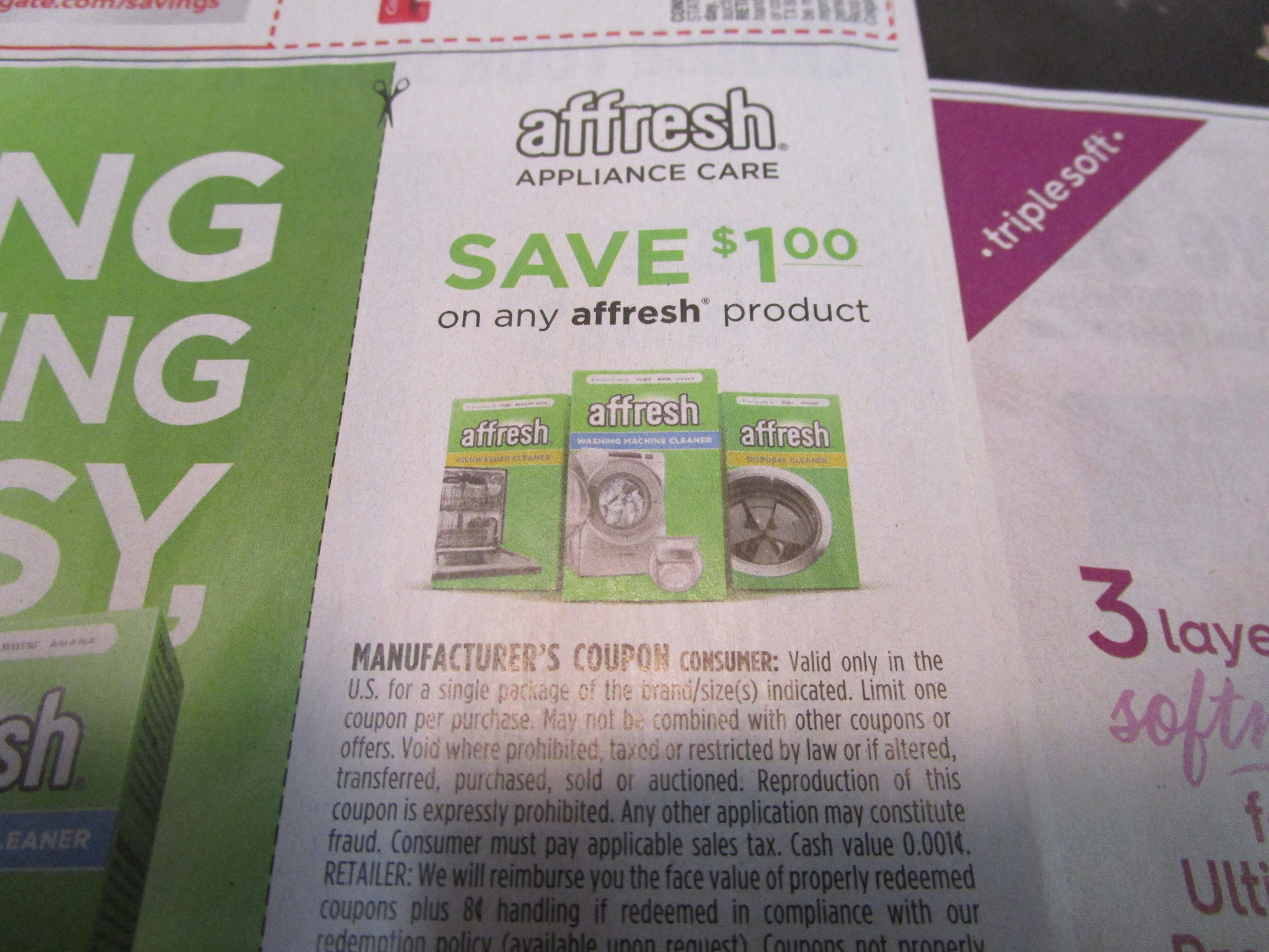 15 Coupons $1/1 Affresh Appliance Care 5/23/2021