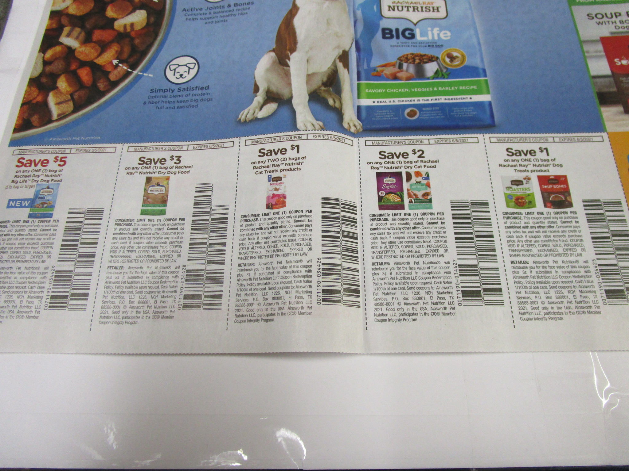 15 Coupons $5/1 Rachael Ray Nutrish Big Life Dog Food  + $3/1 Nutrish Dry Dog Food  + $1/2 Nutrish Cat Treats + $2/1 Nutrish Dry Cat Food  + $1/1 Nutrish Dog Treats 6/5/2021