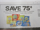 15 Coupons $.75/2 Nabisco Cookie or Cracker 9/21/2019