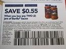 15 Coupons $.55/2 Barilla Sauce 11/3/2019