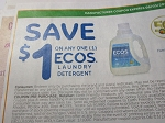 15 Coupons $1/1 Ecos Laundry Detergent 6/3/2018