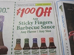15 Coupons $1/1 Sticky Fingers Barbeque Sauce 6/30/2018