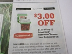 15 Coupons $3/1 Rubbermaid Freshworks Produce Saver Container or Set DND 7/15/2018