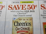 15 Coupons $.50/1 Cheerios Oat Crunch Cereal 9/1/2018