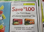 15 Coupons $1/2 Celestial Seasonings Tea (no K Cup) 10/21/2018