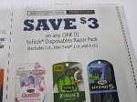 15 Coupons $3/1 Schick Disposable Razor Pack 8/12/2018