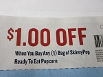 15 Coupons $1/1 SkinnyPop Ready to Eat Popcorn 10/31/2018