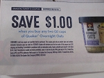15 Coupons $1/2 Quaker Overnight Oats 9/16/2018