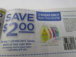 15 Coupons $2/1 Johnson's Lotion Wash or Hair Care 9/2/2018