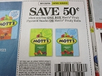 15 Coupons $.50/1 Mott's Fruit Flavored Snacks or Fruity Rolls 10/20/2018