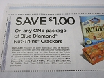 15 Coupons $1/1 Blue Diamond Nut Thins Crackers 10/28/2018