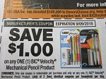 15 Coupons $1/1 Bic Velocity Mechanical Pencil 9/9/2018