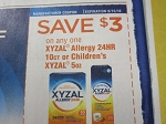 15 Coupons $3/1 Xyzal Allergy 24HR 10ct or Childrens 5oz 9/15/2018