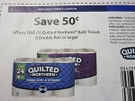 15 Coupons $.50/1 Quilted Northern Bath Tissue 6 Double roll 10/9/2018
