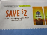 15 Coupons $2/1 Nature's Recipe Dry Dog Food 11/4/2018