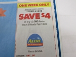 15 Coupons $4/1 Aleve Back & Muscle Pain 100ct 9/16/2018