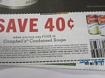 15 Coupons $.40/4 Campbell's Condensed Soups 11/18/2018