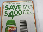 15 Coupons $4/1 Zyrtec 24-45ct 10/21/2018