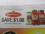 15 Coupons $1/1 Bertolli Sauce 10/28/2018