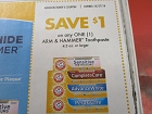 15 Coupons $1/1 Arm & Hammer Toothpaste 4.3oz+ 10/27/2018