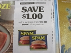 15 Coupons $1/2 Spam 12oz 12/31/2018