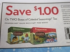 15 Coupons $1/2 boxes Celestial Seasonings Tea (no K cup) 2/3/2019