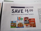 15 Coupons $1/2 Quaker Products 12/16/2018 (Life, Chewy, Aunt Jemima, Oats)