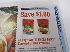 15 Coupons $1/2 Uncle Ben's Floavored Grains Rice 12/30/2018