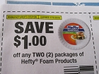 15 Coupons $1/2 Hefty Foam Products 1/15/2019