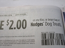 15 Coupons $2/1 10oz Nudges Dog Treats 1/15/2019