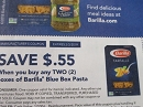 15 Coupons $.55/2 Barilla Blue Box Pasta 2/3/2019
