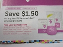 15 Coupons $1.50/2 Summer's Eve External 3/15/2019