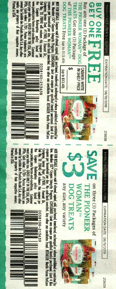 15 Coupons Buy 1 Get 1 FREE The Pioneer Woman Dog Treats + $3/1 Pioneer Women Dog Treats 8/19/2019