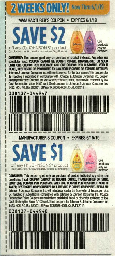 15 Coupons $2/1 Johnson's Product 6/1/2019 + $1/1 Johnson's Product 6/15/2019