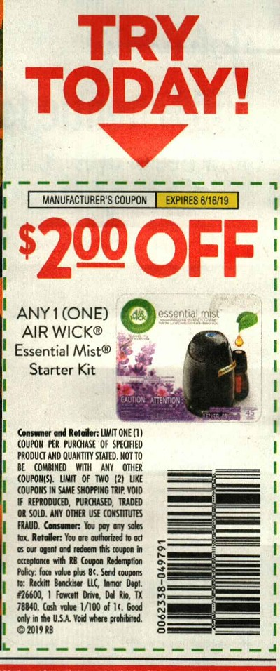 15 Coupons $2/1 Air Wick Essential Mist Starter Kit 6/16/2019