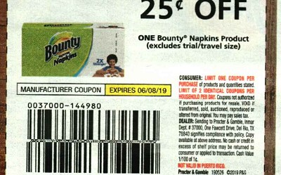 15 Coupons $.25/1 Bounty Napkins 6/8/2019